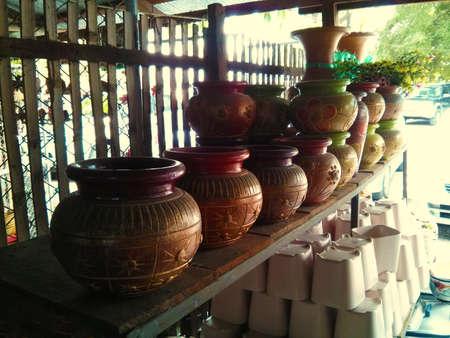 Thai Pottery at a ceramic shop in Lampang photo