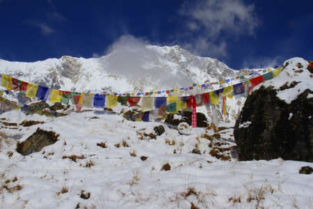 Annapurna I peak with prayer flags