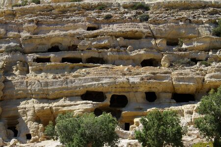 Sandstone cliff in Greece Stock Photo