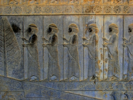 Carved stone relief in ancient city Persepolis, Iran Stock Photo