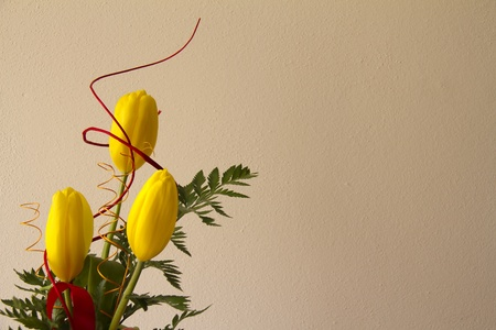 Bouquet of yellow tulips with painted wall background photo