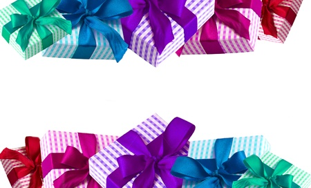 Colorful giftbox border isolated on white background Stock Photo