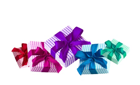 Five colorful giftboxes with a bow in gradient colors, isolated on white background