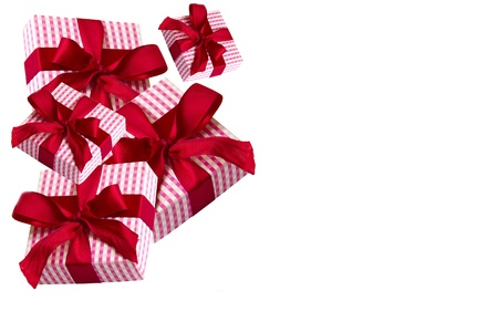 Corner of red gifts on white background