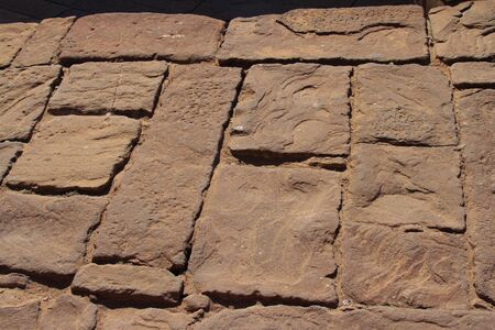 Detail of old red - brown color cobblestones Stock Photo