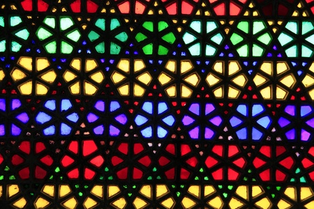 Beautiful geometric pattern of stained glass window Stock Photo
