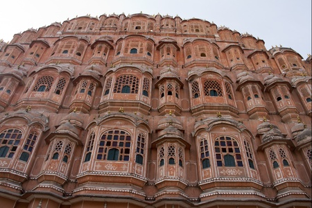 View of architectural monument - Hawa Mahal - Wind palace in Rajasthan India