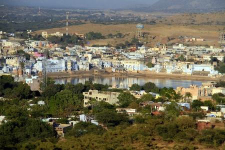 View of hindu piligrimage city Pushkar in Rajasthan, India