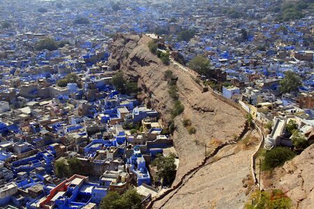 Blue painted houses from Mehrangarh fort, Jodhpur, India