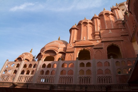 Rajasthani architecture - detail of former harem palace Hawa Mahal in Jaipur, India
