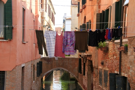 View of typical venetian architecture and drying clothes Stock Photo
