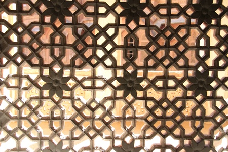 Beautiful carved marble window detail in India