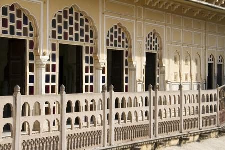 Rajasthani architecture - balcony of former harem palace Hawa Mahal in Jaipur, India