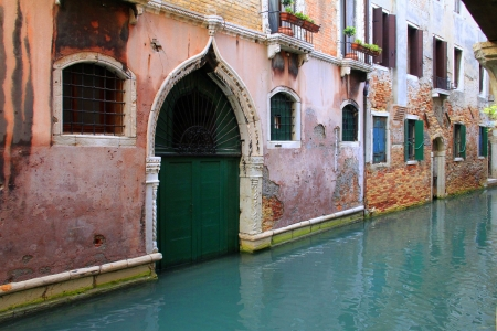 Traditional architecture and channel in Venezia, Italy Stock Photo