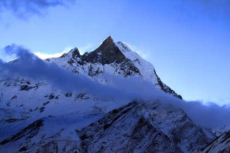 Machapuchare peak in Annapurna massife in Nepal Himalaya