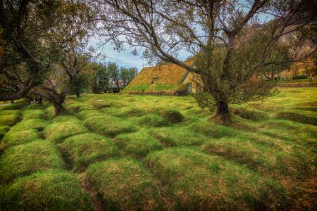 Turf Church in small icelandic village of Hof, Iceland Stock Photo