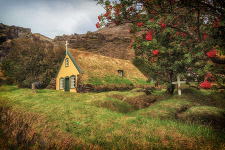 Turf Church in small icelandic village of Hof, Iceland Stock Photo