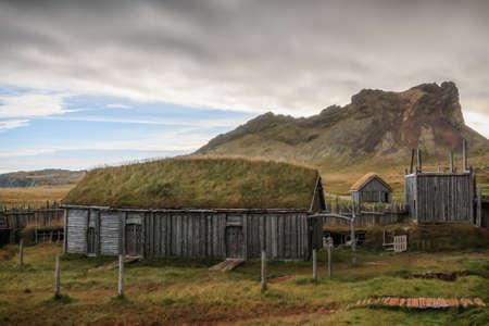 Viking village, Hollywood movie set at Vestrahorn, Wooden houses