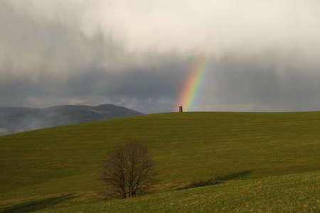Rainbow on the hill  Stock Photo