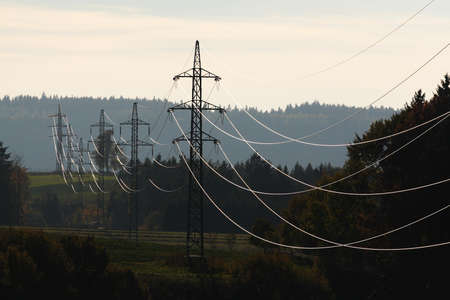 Shining electricity transport wiring during sunset