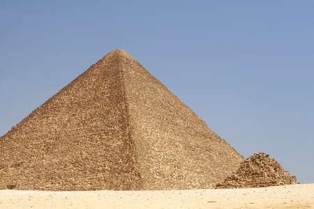 Pair of pyramids in Egyptian desert