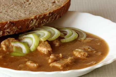 Czech goulash served with slices of onion and bread
