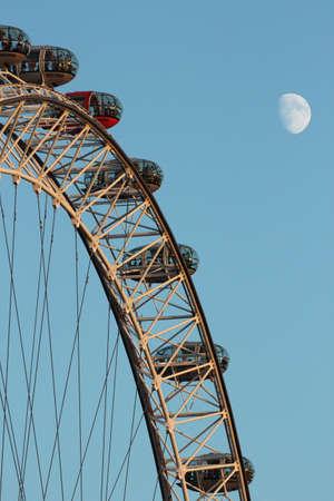 London eye and moon Stock Photo