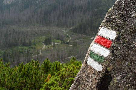 Tourist marking near the path High Tatras Stock Photo