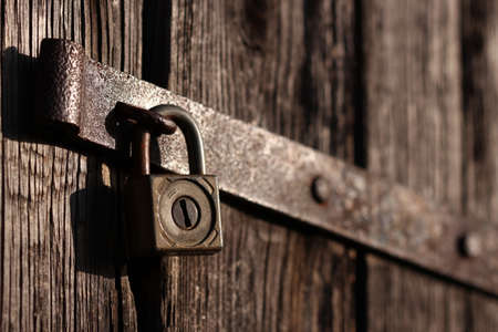 old padlock and a latch Stock Photo