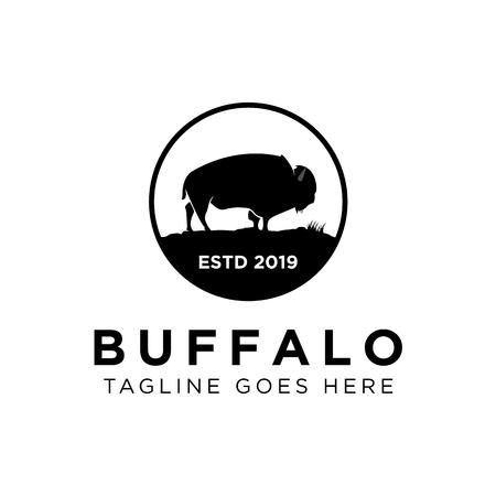 Buffalo Logo Design Ispirazione, illustrazione vettoriale Logo