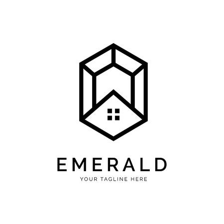Concept de logo émeraude. Modèle de conception minimal créatif. Symbole de l'identité d'entreprise. Élément de vecteur créatif Logo
