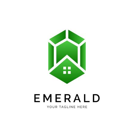 Concept de logo émeraude. Modèle de conception minimal créatif. Symbole de l'identité d'entreprise. Élément de vecteur créatif