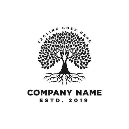 Root Of The Tree Logo Design Inspiration Vettoriali