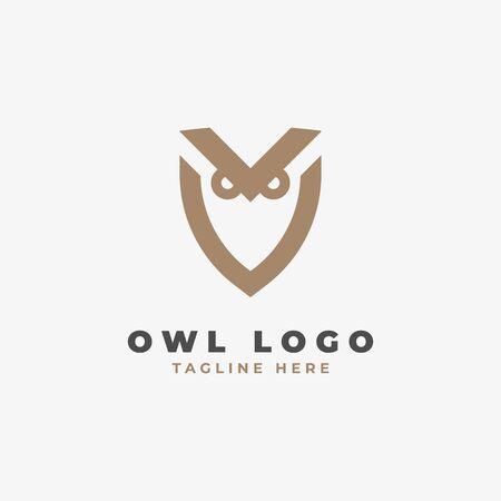 Minimal owl logo design. Vector illustration