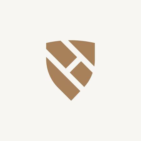 Letter H negative space shield logo design. Vector illustration Vettoriali