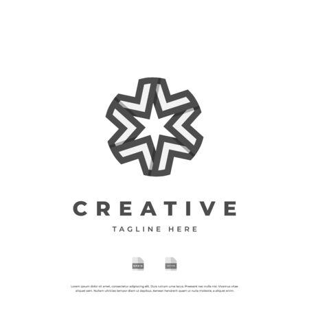 Abstract star monogram logo design.