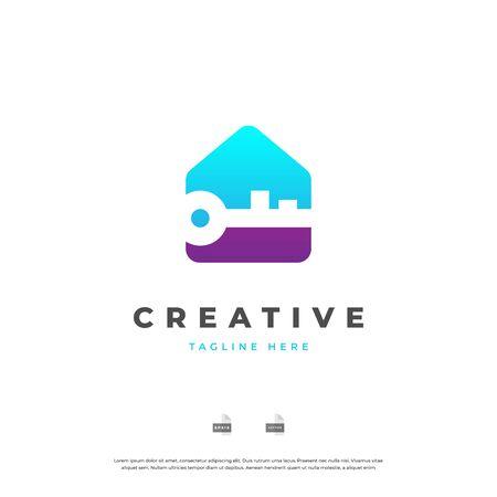 Home with key. Real estate logo design