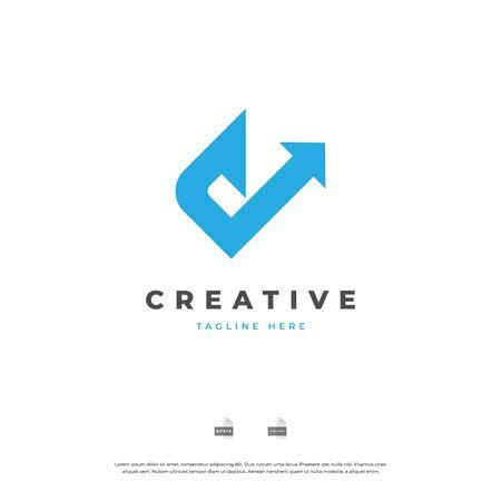 Letter C with arrow up blue color logo design. Vettoriali