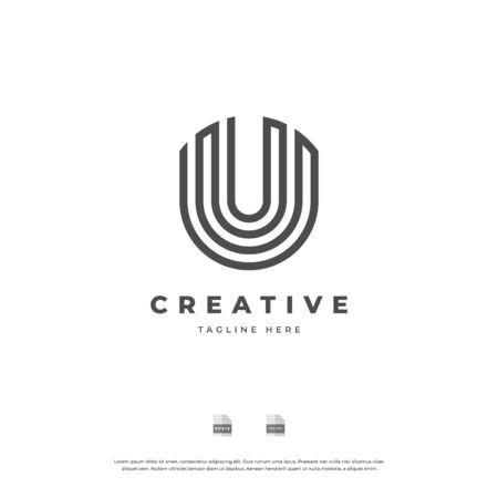 Letter U with black line monogram logo design.