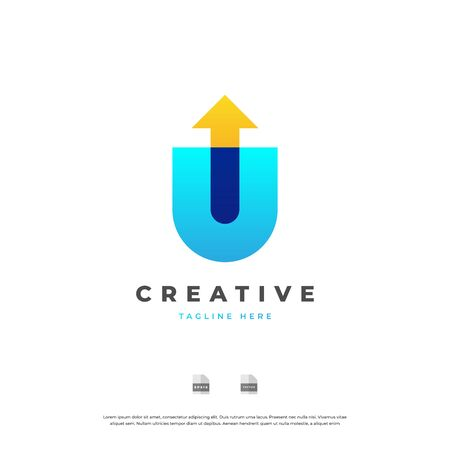 Letter U with arrow up colorful logo design.