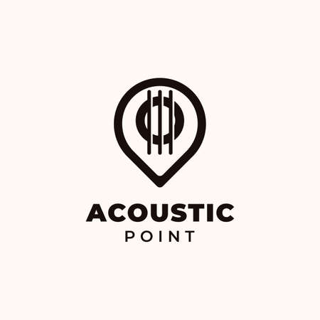 Creative Professional Trendy guitar with point Logo Design in Black and White Color