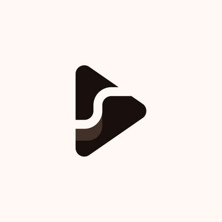 Creative Professional Trendy Letter S with play icon Logo Design in Black and White Color Vettoriali