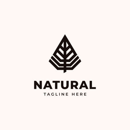 Creative Professional Trendy Leaf Logo Design in Black and White Color Vettoriali