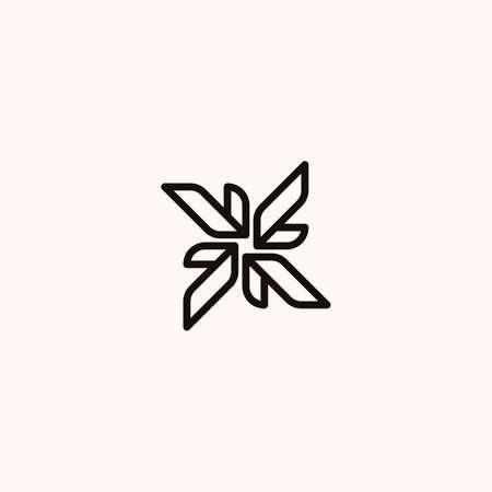 Creative Professional Trendy Monogram Leaf Logo Design in Black and White Color