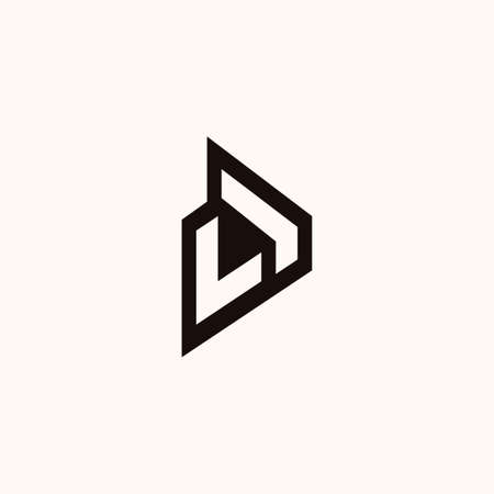 Creative Professional Trendy Monogram L with play icon Logo Design in Black and White Color Vettoriali