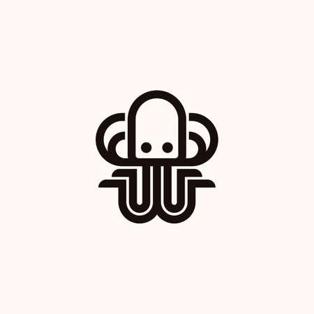 Creative Professional Trendy Octopus line Logo Design in Black and White Color Vettoriali