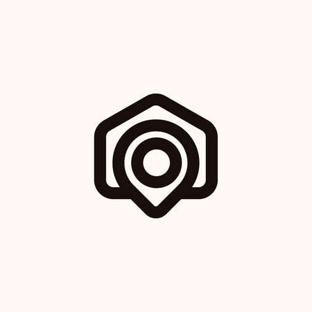 Creative Professional Trendy home point house point Logo Design in Black and White Color