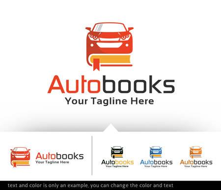 book logo: Auto libro Logo Design Plantilla vector