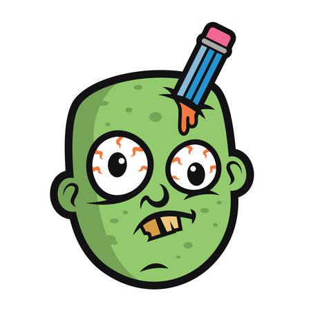 battle evil: Art Funny Zombie Head Illustration