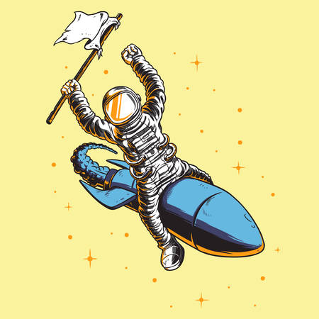 astronauts: Astronauts carry flag Illustration